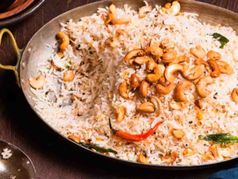 Indian Kaju Rice On Table