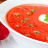 Tomato Soup In A Bowl With 2 Tomatoes On Table. Tomato Soup For Weight Loss