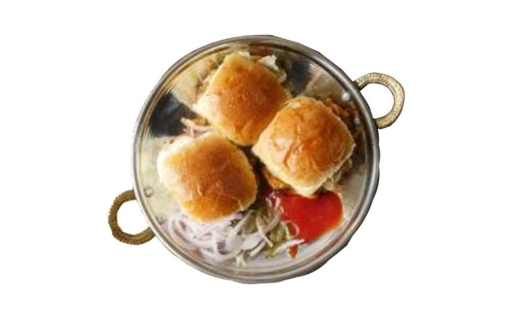 Mini Bun Kabab In A Pan With Ketchup And Salad On White Background